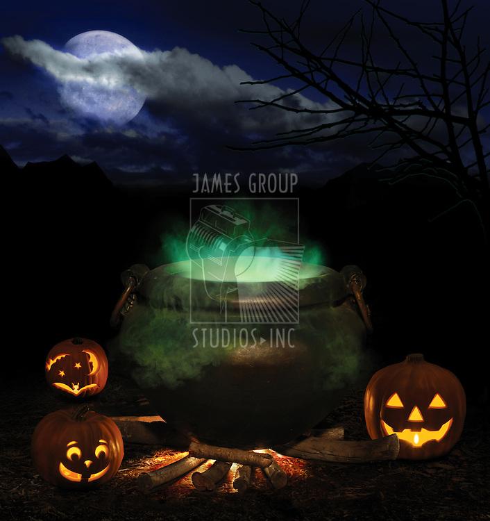 bubbling iron cauldron with orange pumpkin jack-o-lanterns and a full moon