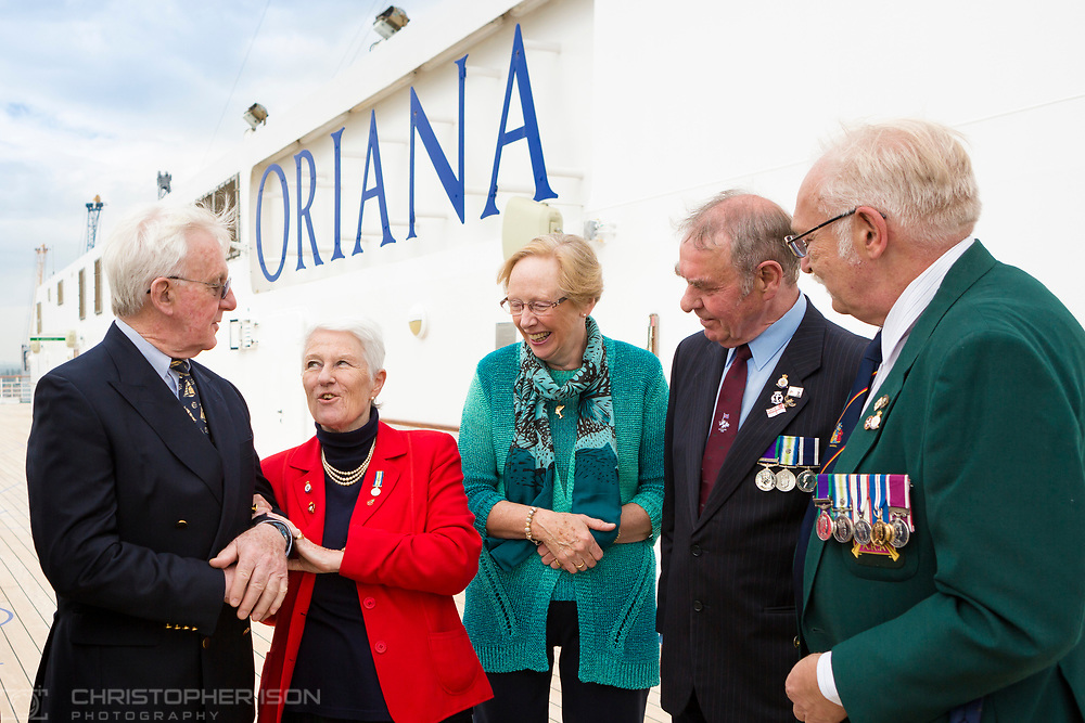 Members of the Falklands Hospital Ship Reunion Group gather onboard P&amp;O Cruises' Oriana in Southampton today, 35 years after the start of the conflict in the South Atlantic. Left to right: Captain Grahame Burton who was Chief Officer in charge onboard Uganda. Captain Burton was later appointed the Master of Oriana when she was being built and is a former Vice President of Princess Cruises. Nicci Pugh who was a Theatre Sister on the Hospital Ship Uganda, Maggie Freer who was Head Naval Nurse on the Uganda, Jon Strange who served as a Chief Petty Officer on HMS Sheffield when she was sunk and Robert &quot;Ossie&quot; Osborn, formerly of the 2nd Battalion Scots Guards. 50 former soldiers, sailors and nurses will spend the next four days cruising aboard Oriana to the Channel Islands.<br /> Picture date Thursday 11th May, 2017.<br /> Picture by Christopher Ison. Contact +447544 044177 chris@christopherison.com