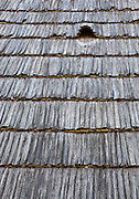 "Wooden shingle roof of wooden vernacular house built by ""Pasco of the Salaje"" (county Salaj) in 1775, Berbesti, Maramures. Dimitrie Gusti National Village Museum (Muzeul Satului) in Bucharest, Romania"