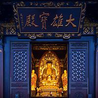 China, Xi'an, Golden Buddha statue inside Big Wild Goose Pagoda