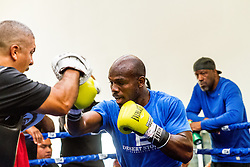 """INDIO, CA JUNE 6:  Former two-division world champion and highly-rated pound for pound fighter TIMOTHY """"Desert Storm"""" BRADLEY JR. (31-1-1, 1 NC,  12 KOs), during the media workout held at Bradley''s gym in Indio, CA  for his upcoming bout  with undefeated World Boxing Association (WBA) super lightweight world champion JESSIE VARGAS (26-0, 9 KOs) for the vacant World Boxing Organization (WBO) welterweight world title. The Bradley vs. Vargas world welterweight title fight will take place Saturday, June 27, under the stars at StubHub Center in Carson, Calif., and will be televised live on HBO World Championship Boxing®, beginning at 9:45 p.m. ET/PT. 2015, June 6. Byline, credit, TV usage, web usage or linkback must read SILVEXPHOTO.COM. Failure to byline correctly will incur double the agreed fee. Tel: +1 714 504 6870."""