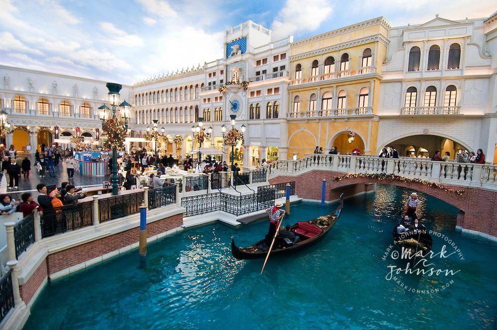 Gondola ride inside The Venetian Hotel & Casino, Las Vegas, Nevada, USA