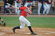 Ole Miss' Miles Hamblin (24) drives in a run with a single vs. Lipscomb at Oxford-University Stadium in Oxford, Miss. on Sunday, March 13, 2011. Ole Miss won 5-1 to sweep the series and improve to 13-4.