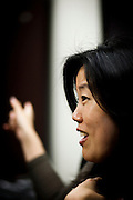 Michelle Rhee meets with members of EdVoice in Sacramento, Calif., February 4, 2011.