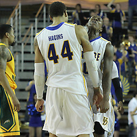Delaware Forward Jamelle Hagins (44) and Delaware Guard Devon Saddler (10) celebrate late in the Second half of a regular season NCAA basketball game against George Mason Saturday, March 2, 2013, at the Bob Carpenter Center in Newark Delaware.