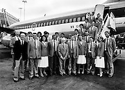 Olympian ambition: part of the Irish team, with their Chef de Mission and officials, leaving Dublin Airport bound for the Olympic games in Moscow.<br />14 July 1980