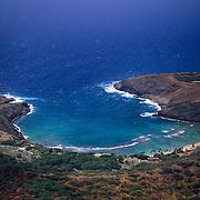 Beautiful turquoise Hanauma Bay shimmers near Honolulu on Oahu in Hawaii.