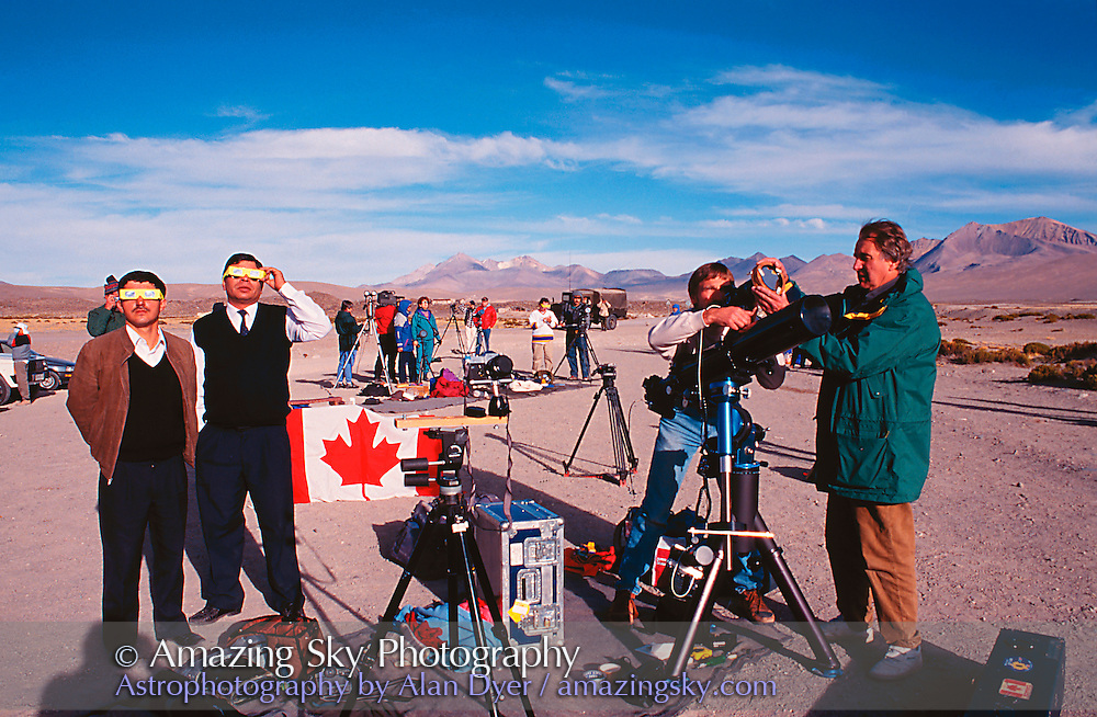 November 3, 1994, Chilean Altiplano<br /> Group setting up, with Robert May (right) and Michael Watson (centre), plus Chilean bus drivers (left)