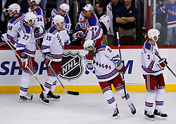 February 1, 2008; Newark, NJ, USA;  The New York Rangers celebrate an empty net goal by New York Rangers center Chris Drury (23) during the third period at the Prudential Center in Newark, NJ.   The goal was Drury's second of the game and his 500th career point. The Rangers defeated the Devils 3-1.