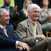 Stephen A. Schwarzman, Chairman and CEO of The Blackstone Group, left, shares a laught with Jay Noren, President of Wayne State University, right, at the Undergraduate Library at Wayne State University in Detroit, MI, Friday, April 30, 2010. ..The Blackstone Charitable Foundation in collaboration with the New Economy Initiative for Southeast Michigan announced that Wayne State University, Walsh College, and the University of Miami have been selected as partners for The Blackstone Charitable Foundation's grant to help expand The Launch Pad program to two Michigan partners – Walsh College and Wayne State University. (Jeffrey Sauger)