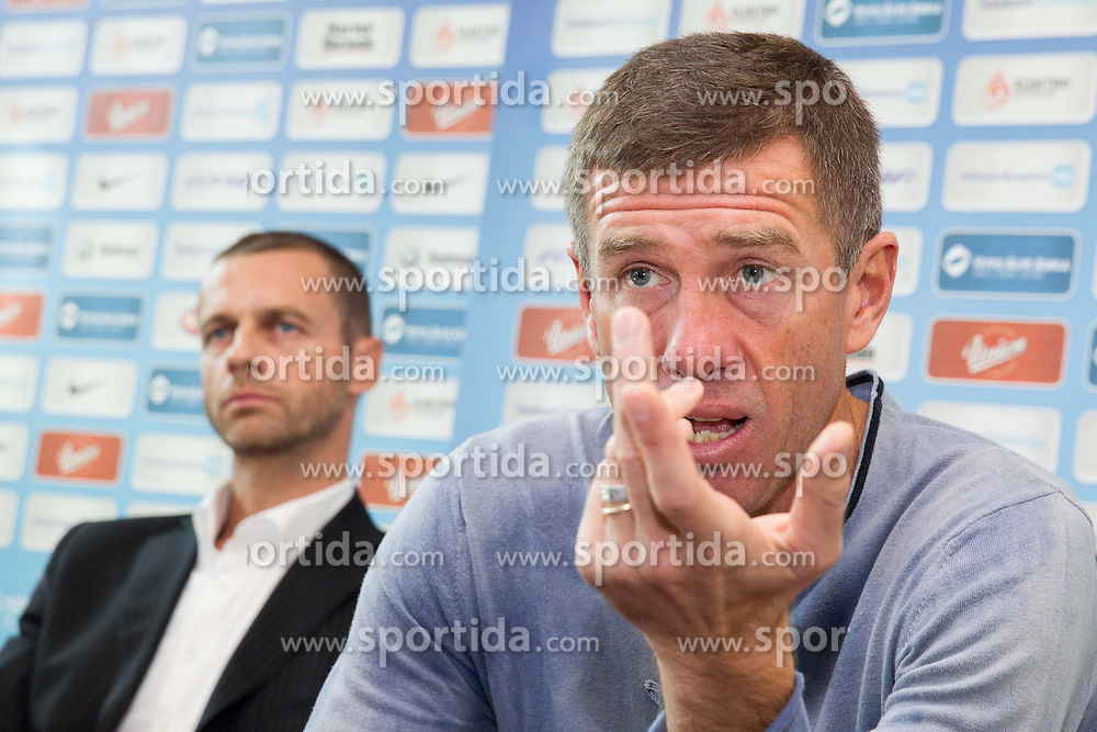 Aleksander Ceferin, president of Slovenia Football Association and Srecko Katanec, head coach of Slovenia National Team at press conference after the end of FIFA World Cup 2014 Qualifications, on October 18, 2013 inLjubljana, Slovenia. (Photo by Vid Ponikvar / Sportida)
