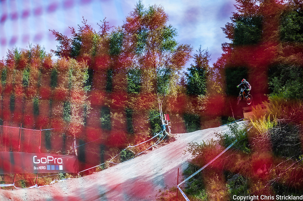 Nevis Range, Fort William, Scotland, UK. 3rd June 2016. Brendan Fairclough jumps through the woods. The worlds leading mountain bikers descend on Fort William for the UCI World Cup on Nevis Range.