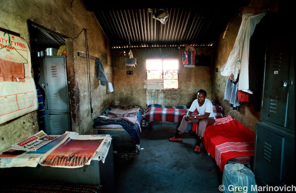 POLITICS TOKOZA SOUTH AFRICA 1990: A Zulu in his migrant workers' hostel. He fought with Inkatha Freedom Party militants in Tokoza township, South Africa, 1990. Part of The Dead Zone series. (Photo by Greg Marinovich / Getty Images)