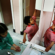 Two children wash their hands before lunch at Uribarri public school. I visited Uribarri Public School in Bilbao to see how the children of new migrants to Bilbao were settling in with their Spanish classmates. Nowhere is a community's diversity reflected more strongly than in a school.