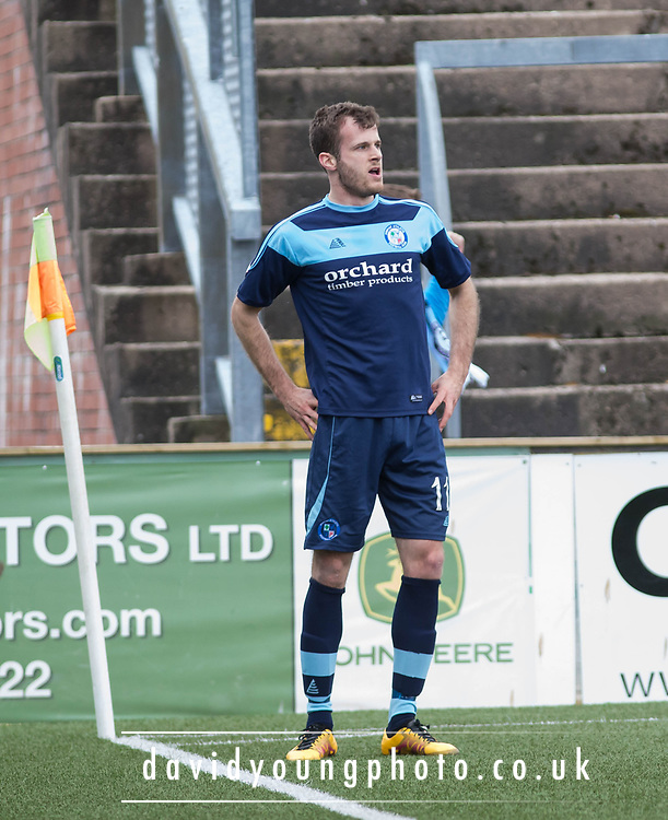 Danny Denholm celebrates after heading home the opening goal during Forfar's 3-0 win over Clyde in SPFL League Two  at Station Park, Forfar, Photo: David Young<br /> <br />  - &copy; David Young - www.davidyoungphoto.co.uk - email: davidyoungphoto@gmail.com