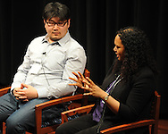 "Francoise Hamlin (right) speaks as she and Bill Cheng participate in a panel discussion titled ""Fiction, Memory, and Southern History"", at the Oxford Conference for the Book, in Oxford, Miss. on Wednesday, March 26, 2014."