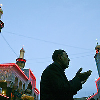 A Shiite man prays inside of the Imam Hussein holy shrine in Karbala, Iraq. For the first time on Tuesday March 2, Shiite Muslims in Iraq will be able to gather at the Shiite holy city of Karbala to mark Ashoura day mourning of the death of one of their most important saints, Imam Hussein. During the rule of Iraqi President Saddam Hussein, such rituals were banned.  March 2004.