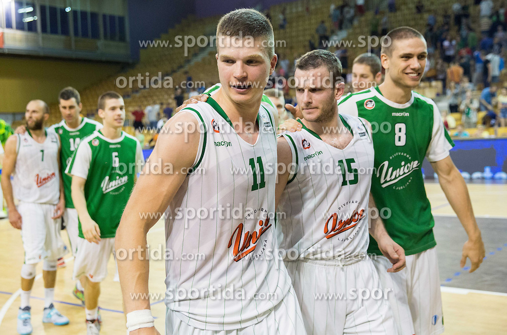 +11+, Jakov Vladovic of Union Olimpija and Jaka Brodnik of Union Olimpija after the basketball match between KK Union Olimpija and  KK Krka in 2nd Final match of Telemach League - Slovenian Championship 2013/14 on May 24, 2014 in Hala Tivoli, Ljubljana, Slovenia. Photo by Vid Ponikvar / Sportida