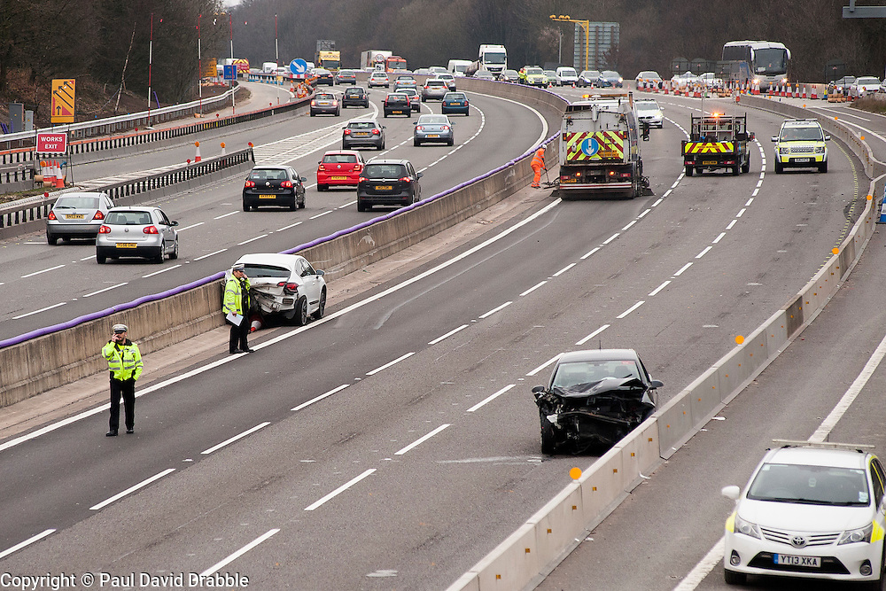 South Yorkshire Police closed the M1 South Bound at Junction 35 after a collision  between a black VW golf and a white Citeron DS4 on Saturday 12 March 2016. The driver of the Back golf a 56 year old man from Barnsley was airlifted to hospital but died later.<br /> Copyright Paul David Drabble<br /> www.pauldaviddrabble.co.uk