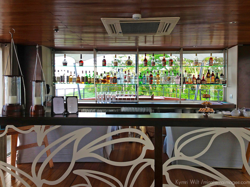 South America, Peru, Amazon. Bar on the M/V Aria.