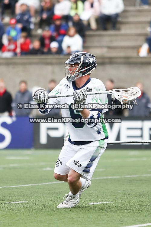 Ben Rubeor #6 of the Chesapeake Bayhawks controls the ball during the game at Harvard Stadium on April 27, 2014 in Boston, Massachusetts. (Photo by Elan Kawesch)