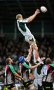 Twickenham, GREAT BRITAIN, Exiles, James HUDSON, collects an the line out ball, during the EDF Energy Cup rugby match,  Harlequins vs London Irish, at Twickenham Stoop, Surrey on Sat 25.10.2008 [Photo, Peter Spurrier/Intersport-images]