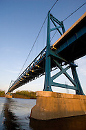 The new US30 suspension bridge spans the Mississippi River in Clinton, IA.