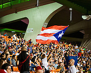 SAN JUAN, PUERTO RICO FEBRUARY 2: A puerto Rican fan waves her flag during the game against Venezuela on February 2, 2015 in San Juan, Puerto Rico at Hiram Bithorn Stadium(Photo by Jean Fruth)