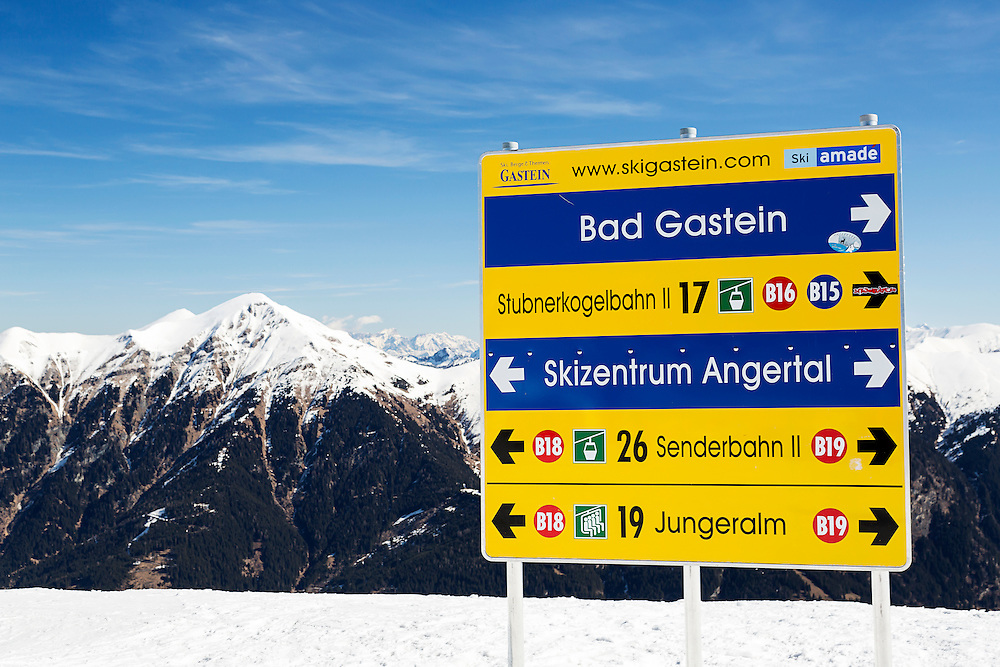 A directional sign for skiers above the resort of Bad Gastein. Bad Gastein offers extensive skiing and is also famous for its health spas.