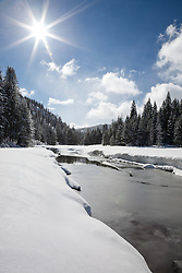 """""""Snowy Truckee River 3"""" - Photograph of an iced over and snowy Truckee River in the winter."""