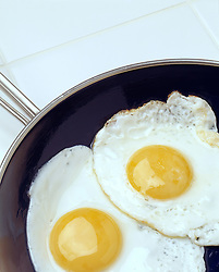 breakfast two fried eggs black cast iron fry pan sunny side up Cuisine Bon Appetit