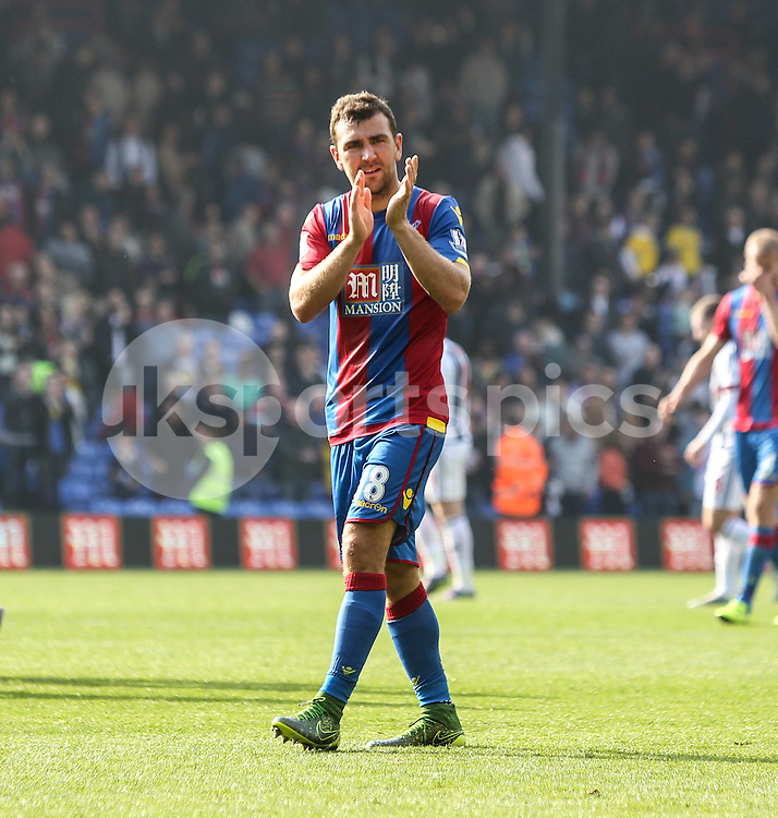 James McArthur of Crystal Palace salutes the supporters after the Barclays Premier League match between Crystal Palace and West Bromwich Albion at Selhurst Park, London, England on 3 October 2015. Photo by Ken Sparks.