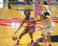 "Ole Miss' Courtney Marbra (25) vs. Georgia's Jasmine Hassell (12) in women's basketball at the C.M. ""Tad"" Smith Coliseum in Oxford, Miss. on Sunday, February 24, 2013. Georgia won 73-54."