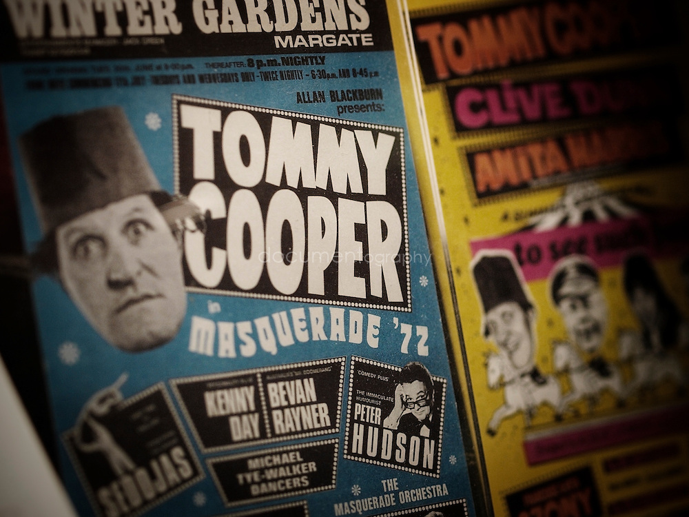 The Tommy Cooper display case in the Devant Room at The Magic Circle HQ.