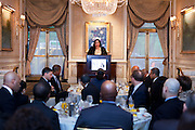 Kelly Williams, Managing Director and Head of the Customized Fund Investment Group, Credit Suisse speaking SEO 2nd Annual Alternative Investment Conference held May 17, 2011 at the Essex House Hotel in New York. Organized by Sponsors for Educational Opportunity (SEO), the conference is part of SEO's Alternative Investments Program, which includes the Alternative Investment Fellowship Program (AIFP), an initiative launched in 2009.  The AIFP is an educational program for young professionals from backgrounds traditionally underrepresented in the alternative investments industry.  The AIFP combines workshops, training and mentoring to strengthen Fellows as candidates for positions in private equity and other alternative investments.  The program also improves Fellows' skills as analysts by exploring strategic decisions involved in transactions from the client's point of view.