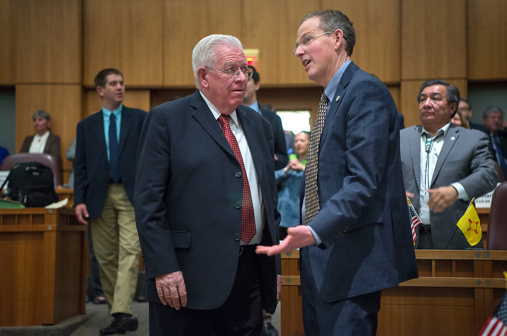 em031817b/a/Sen. John Arthur Smith, D-Deming, and Sen. Majority Leader Peter Wirth, D-Santa Fe, talk as the 2017 Legislative Session ends and talk of a special session spreads at the Roundhouse in Santa Fe, Saturday March 18, 2017. (Eddie Moore/Albuquerque Journal