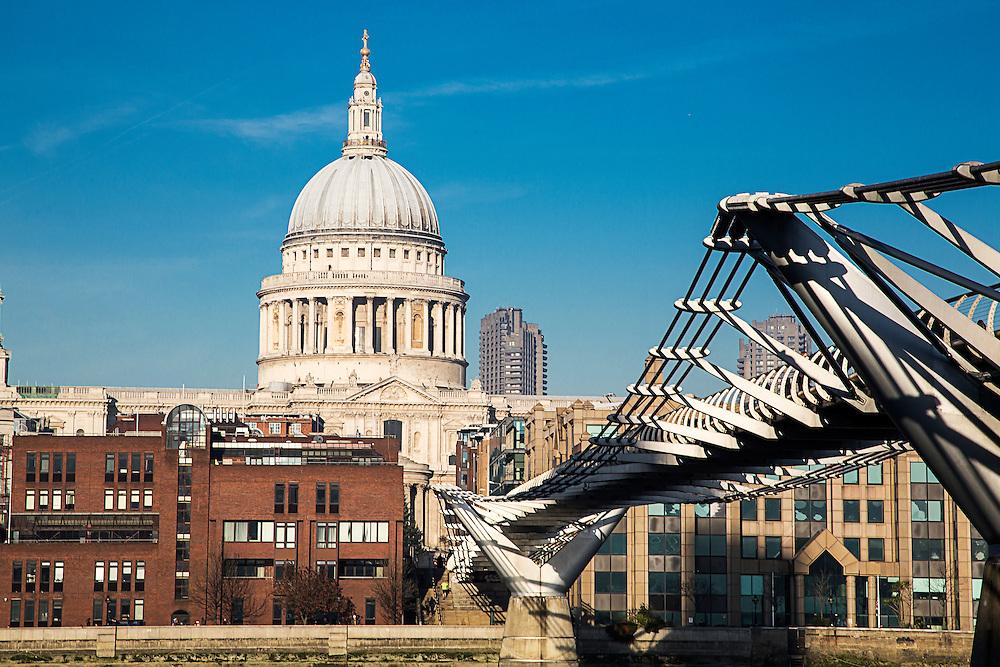 St Pauls Cathedral and The Millenium Bridge, London. <br /> David Henderson Photography Fine Art Print