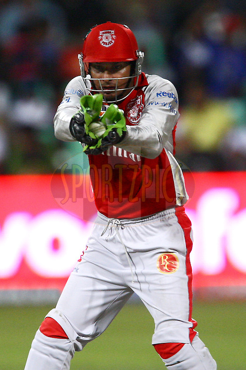 DURBAN, SOUTH AFRICA - 29 April 2009.Sangakkara watches this one into his gloves during the IPL Season 2 match between Kings X1 and the Mumbai Indians held at Sahara Stadium Kingsmead, Durban, South Africa..