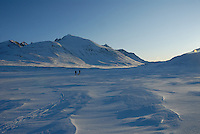 Skiing in the mountain,Sarek,Sweden
