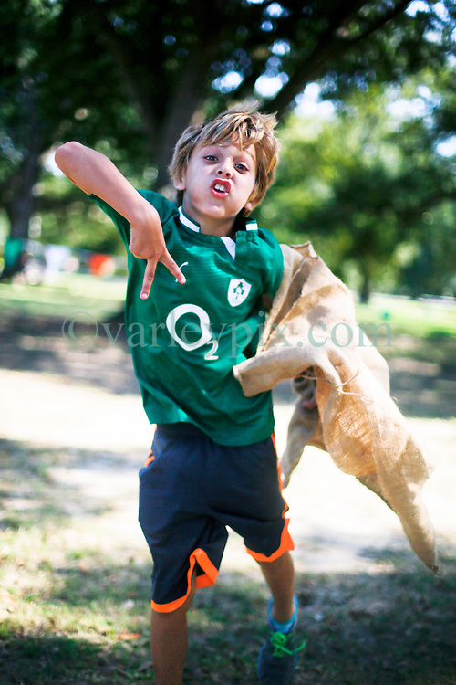 19 October 2014. New Orleans, Louisiana. <br /> Jameson Young at the New Orleans' Irish Network's third Family Day event with fun and games for kids and adults alike. With Irish dancing, egg and spoon and sack races with a good old fashioned tug of war to round things off.<br /> Photo; Charlie Varley/varleypix.com