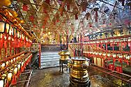 Incense spirals burn inside Man Mo Temple in Hong Kong, China