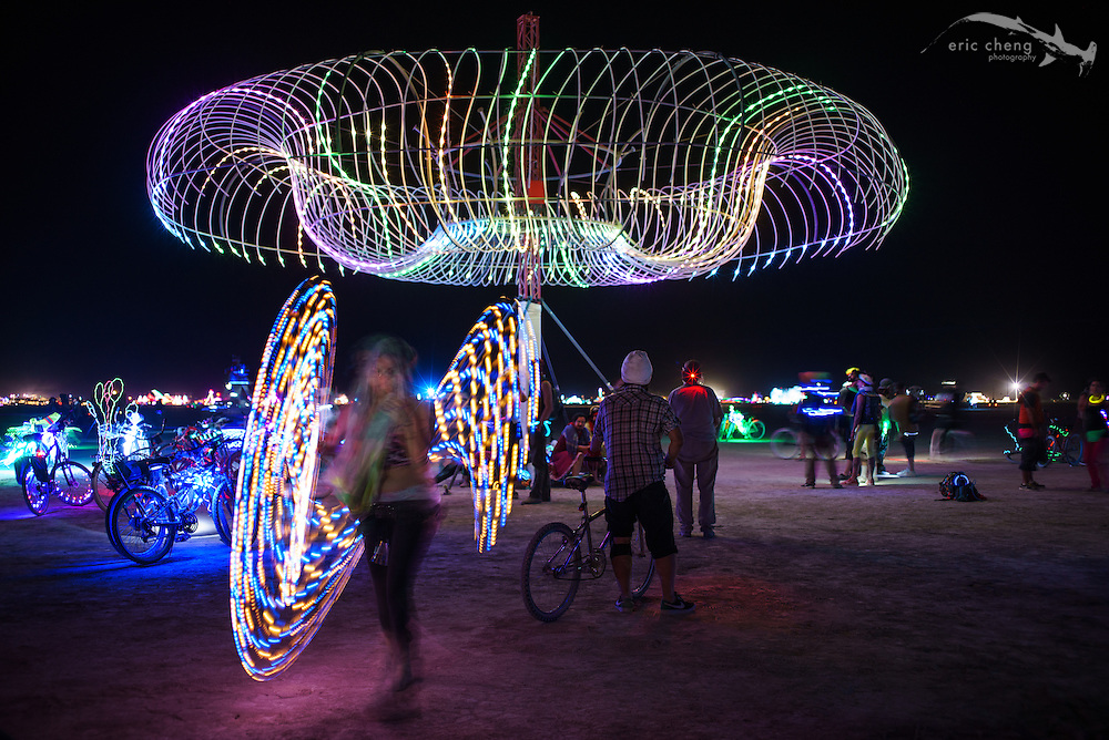 Art installations at night. Burning Man 2014