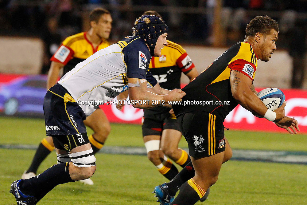 Chiefs Mahonri Schwalger in action during their game at Baypark Stadium, Mt Maunganui, New Zealand. Friday,16 March 2012. Photo: Dion Mellow/photosport.co.nz