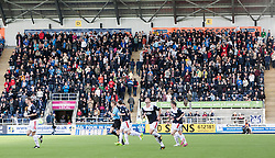 South stand fans at the start of the second half.<br /> Falkirk 3 v 1 Queen of the South, Scottish Premiership play-off quarter-final second leg played today at the Falkirk Stadium.