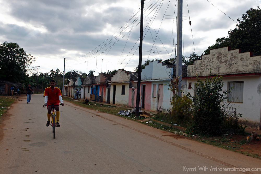 Central America, Cuba, Remedios. Bicycle on road of Remedios.