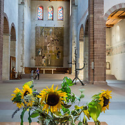 Sunflowers droop. The cathedral of Münster Allerheiligen (All Saints Church) was built in Romanesque style in 1103, the oldest building in Schaffhausen. Kloster Allerheiligen (All Saints Abbey) is a former Benedictine monastery in Schaffhausen, Switzerland, Europe.