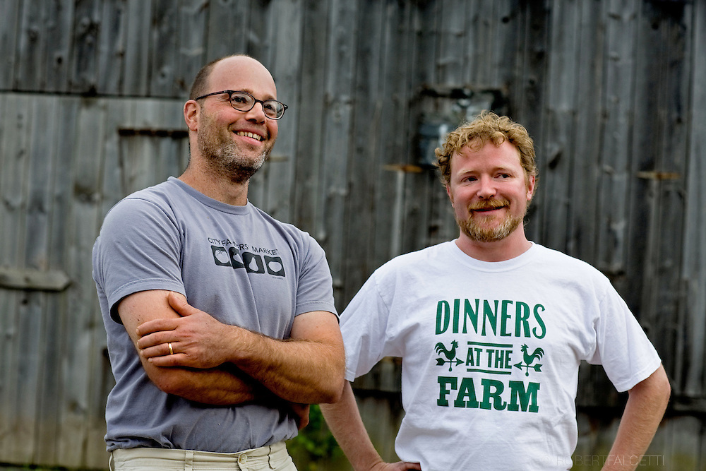 SOUTH GLASTONBURY, CONNECTICUT-10 September 2009-- Chefs Jonathan Rapp of River Tavern, left, and Drew McLachlan of Feast Market, are co-founders of Dinners at the Farm. This event was held at Old Maids Farm in South Glastonbury, Connecticut. The dinner, hosted by farm owner George Purtill, was a benefit for Working Lands Alliance. (Photo by Robert Falcetti)