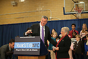 Mayor-Elect Bill de Blasio announces his appointment of Carmen Fari&ntilde;a, right, as Schools Chancellor at William Alexander Middle School in Park Slope, Brooklyn, NY on Monday, Dec. 30, 2013. <br /> <br /> CREDIT: Andrew Hinderaker for The Wall Street Journal<br /> SLUG: NYSTANDALONE
