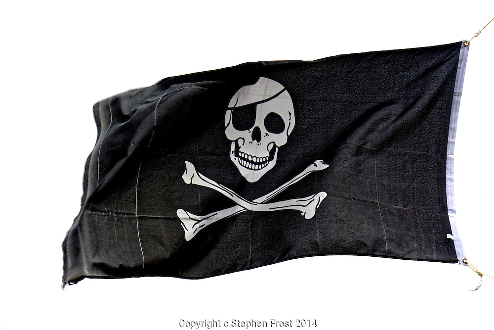 A  traditional black on white skull and cross-bone pirate flag for any rebels out there.