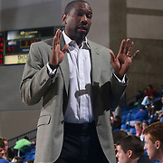 Springfield Armor Head Coach Doug Overton seen in the second half of a NBA D-league regular season basketball game between the Delaware 87ers (76ers) and Springfield Armor (Brooklyn Nets) Saturday, Apr. 05, 2014 at The Bob Carpenter Sports Convocation Center, Newark, DEL.